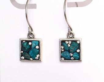 Turquoise earrings with a little sparkle