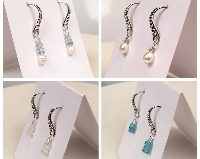Sterling Silver & gem drop earrings