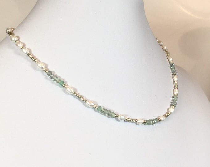 Sea Glass, this necklace features faceted Fluorite and Freshwater Pearls