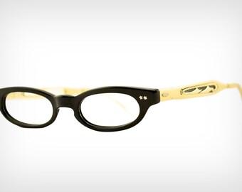 53b60e19e955 60s Glasses    Vintage 1960 s Gold Aluminum   Black Plastic Eyeglass Frames