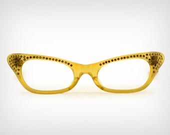 321007f8dac1 60s Glasses    1960 s Deadstock Translucent Amber Cat-Eye Eyeglass Frames  w  Gold Rhinestones