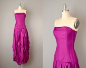 1980 s Strapless Magenta Parachute Silk Dress w Tiered Handkerchief Skirt Size Small Medium