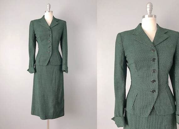 1950s Suit // Black & Green Window Pane Plaid Suit
