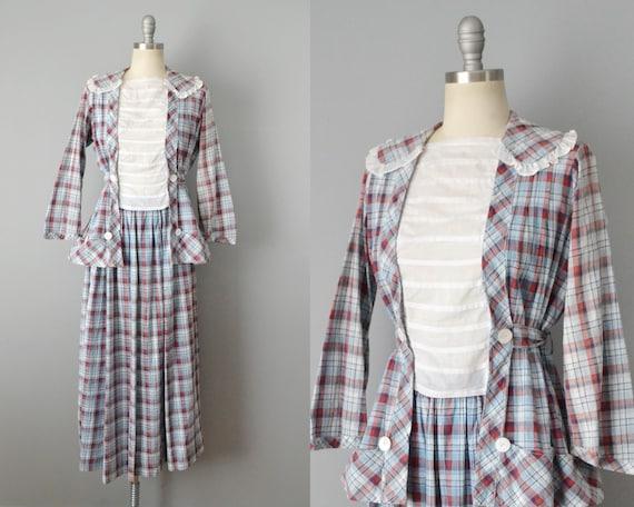 Edwardian Set / Plaid Cotton Edwardian Blouse And