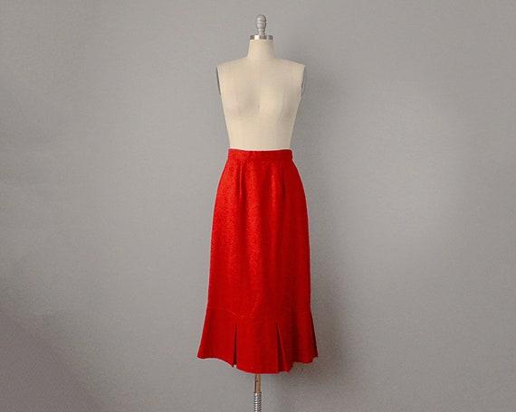 SALE: 60s Skirt // Red Wool Felt Tulip Skirt // S