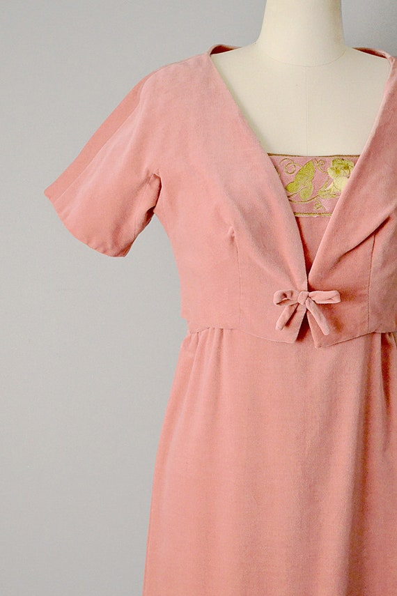 Größe Kleid Seidenbandamp; Passende 1950 Samt W Jacke Rosa Klein ikXZOPu
