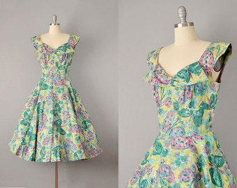 """50s Dress // 1950s """"Alix of Miami"""" Green Butterfly Dress w/ All-Over Rhinestones // M"""