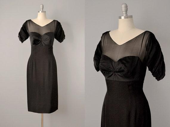 50er Jahre Kleid 1950 schwarz Seide Cocktail Kleid w Kugel Büste M