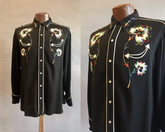 1950s H Bar C Embroidered Western Shirt / Rockabil