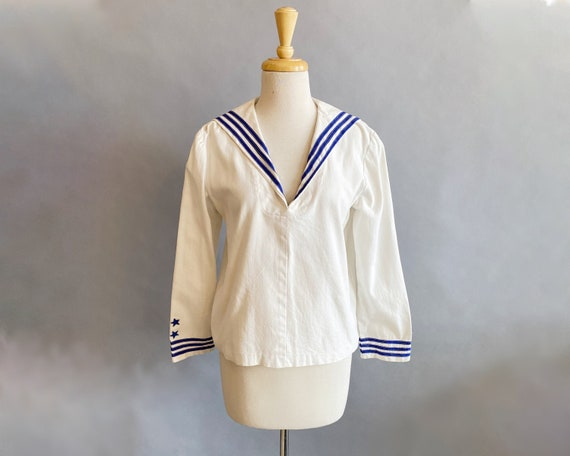 1950s Sailor Top / Middy Blouse / Nautical Top / S