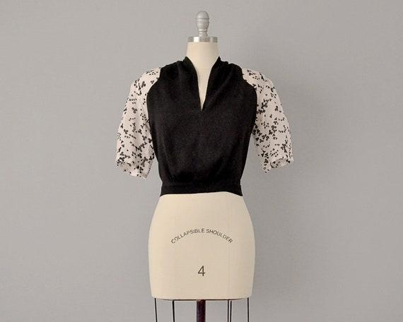 30s Blouse // 1930's Clover Print Silk Blouse // L