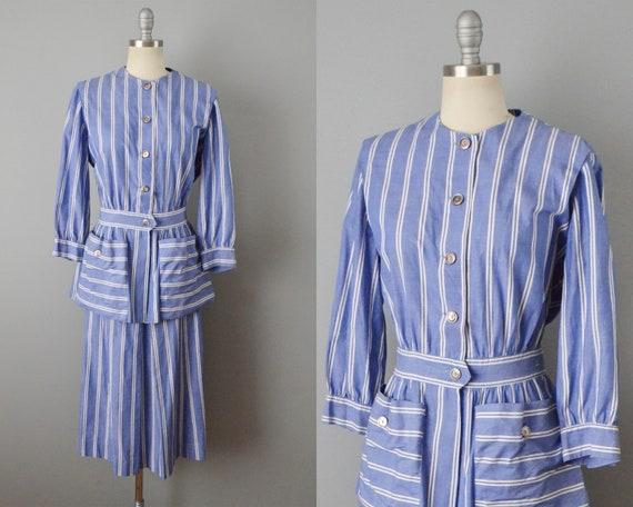 1940s Set / Striped Dress Set / Vintage Day Wear /