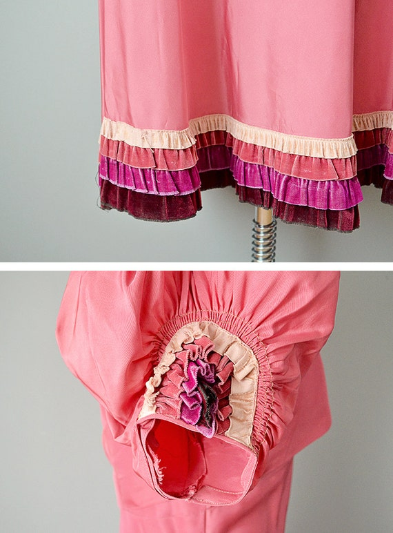 30s Dress // 1930s Pink Silk Taffeta Gown w/ Tier… - image 5