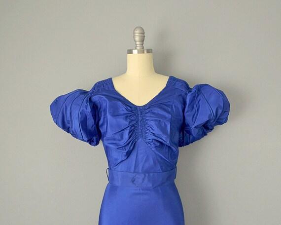 30s Dress // 1930s Royal Blue Silk Taffeta Puff-S… - image 5