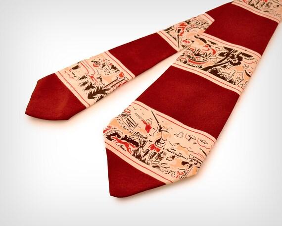 40s Tie // 1940s Hunting Scene Silk Tie // Vintage