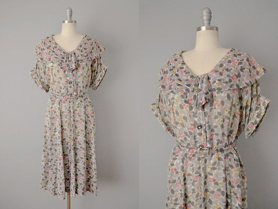 1950s Plus Size Dress in a Sheer Leaf Print