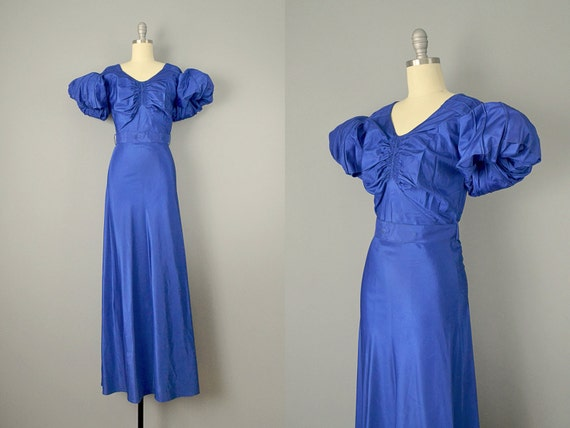 30s Dress // 1930s Royal Blue Silk Taffeta Puff-Sl