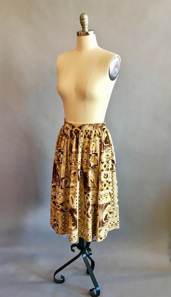 1950s Hawaiian Skirt / 50s Skirt / Novelty Print … - image 4