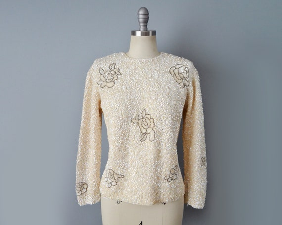 1960s Gene Shelly Sequined Sweater / Beaded Sweate