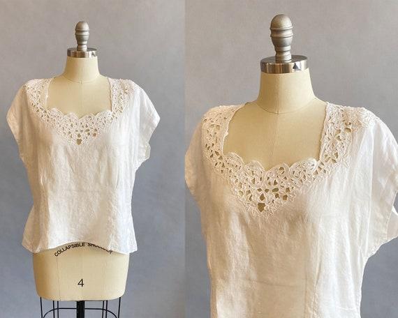 1940s White Linen Blouse / Floral Cut Work Blouse