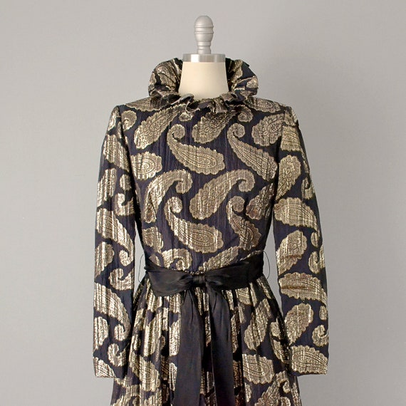 60s Dress // Ceil Chapman 1960's Black Silk Metal… - image 6