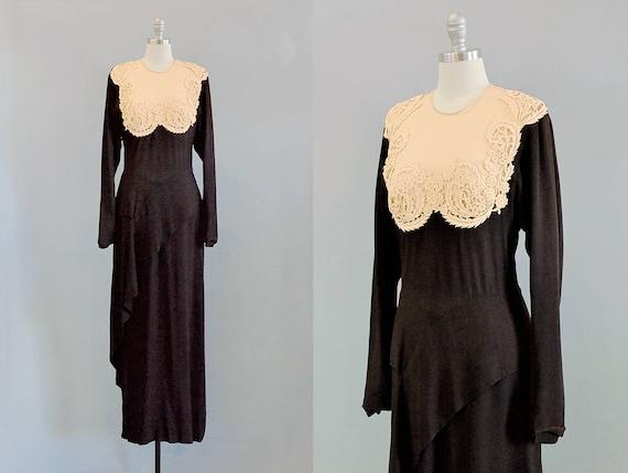 40s Dress  // 1940's Peggy Hunt Black Silk Crepe &