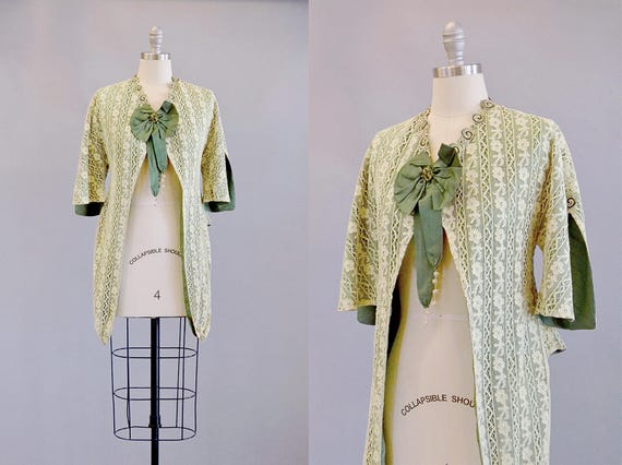 1800s Jacket // Victorian Lace and Green Silk Shan