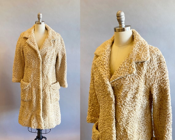 1960s Blonde Curly Lamb Fur Coat / Designer Fur Co
