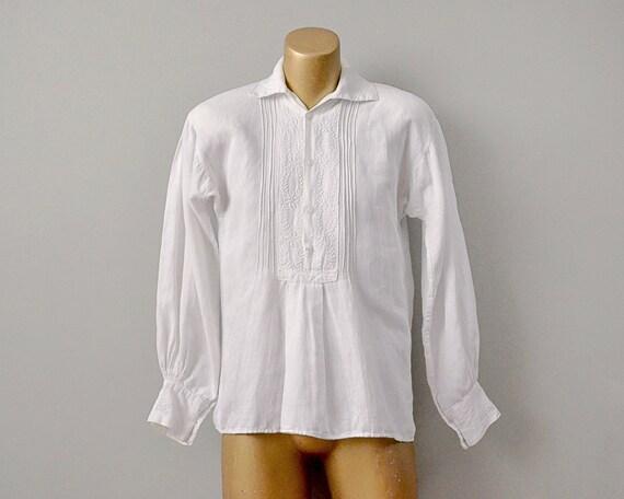 70s Shirt // 1970's White Cotton Embroidered Weddi