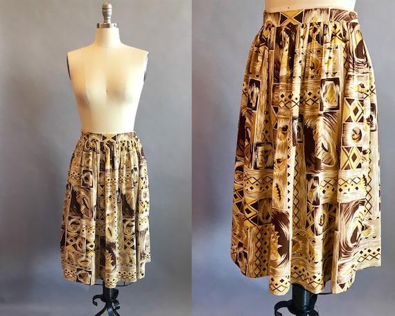1950s Hawaiian Skirt / 50s Skirt / Novelty Print … - image 1