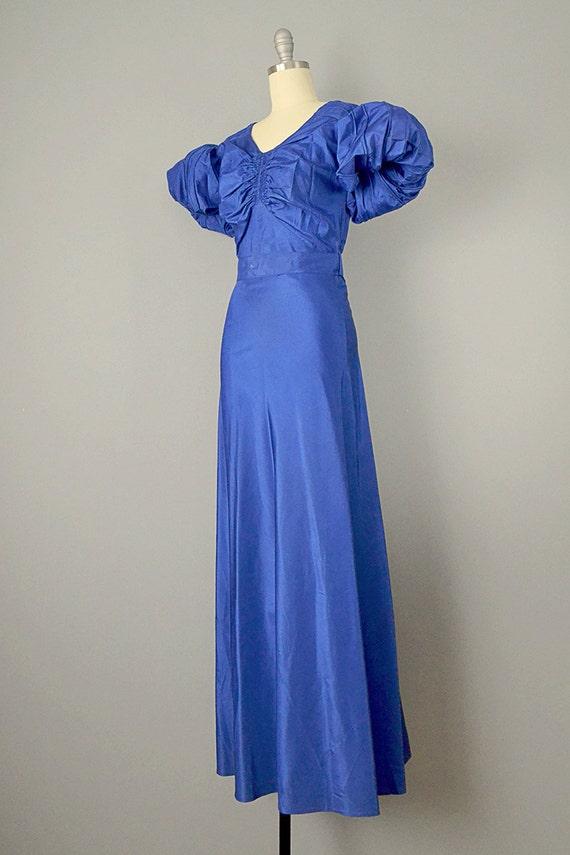 30s Dress // 1930s Royal Blue Silk Taffeta Puff-S… - image 3