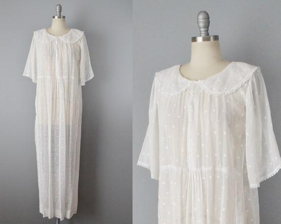 Victorian White Organdy Dress / 1900s dress / Anti