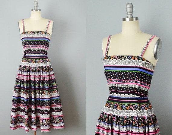 Victor Costa Sundress / 1980s Border Print Dress /