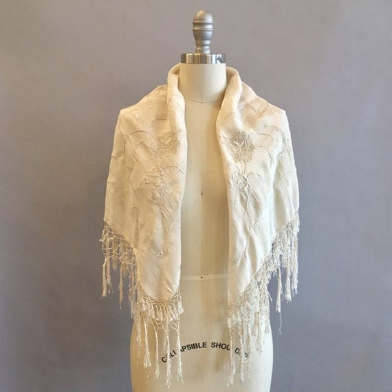 1920s Floral Embroidered Shawl / 20s Wrap / Bridal