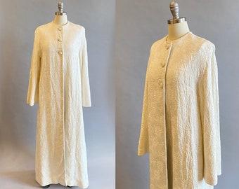1960's White Brocade Maxi Coat / Wedding Coat / White Evening Coat by Andre / Size: Med/Lrg