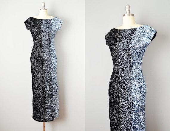 50s Dress // 1950s Gene Shelly Ombré Sequin Hourgl