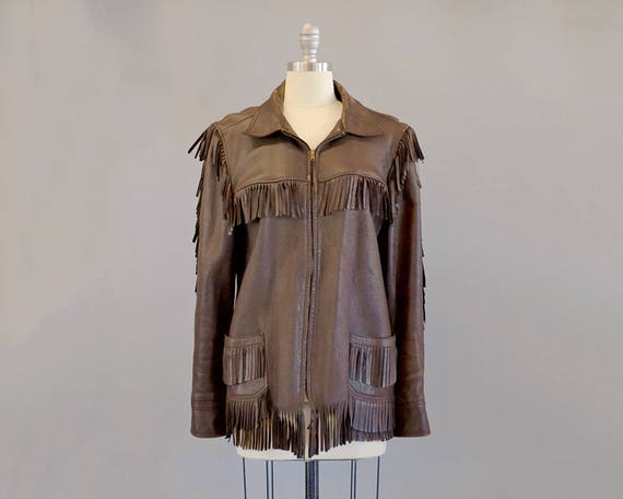 50s Jacket // 1950s Brown Leather Fringed Jacket /