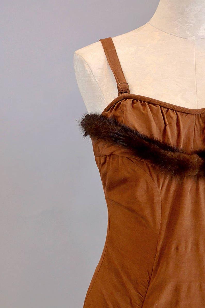 50s Swimwear 1950s Brown Bathing Suit w Mink Trim S