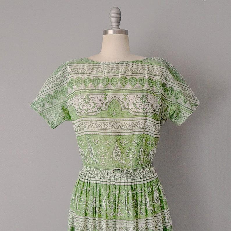 50/% OFF SALE 1950s L/'Aiglon Green Print Dress  Size Medium Large