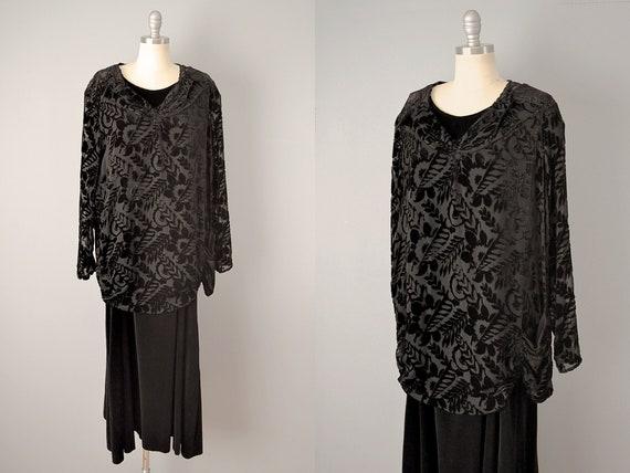 1920s Dress // Black Silk Velvet Burnout Dress //