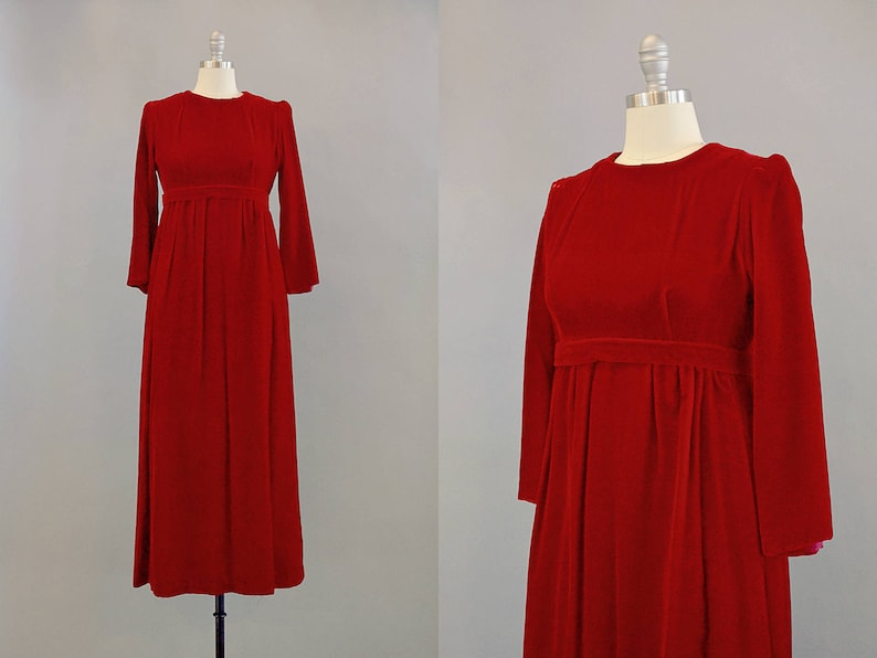 f2e0b15dd01f SALE: 60s dress // 1960's Red Velvet Empire Waist Maxi | Etsy
