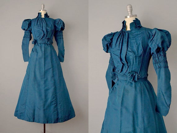 1800s Dress // Victorian Teal Silk Two-Piece Dress