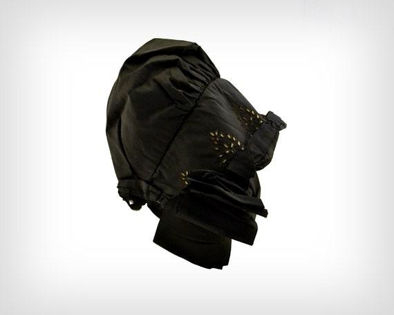 1800s Hat // Victorian Black Silk Bonnet w/ Eyele… - image 3