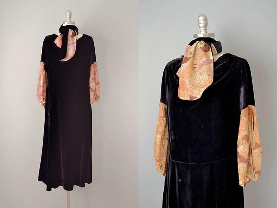 20s Dress // 1920s Black Silk Velvet Dress w/ Meta