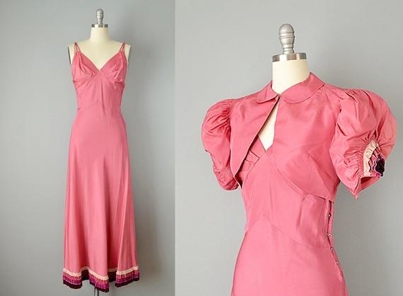 30s Dress // 1930s Pink Silk Taffeta Gown w/ Tiere