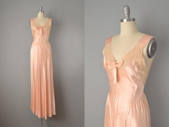 30s Dress // 1930's Peach Bias Cut Satin and Ecru