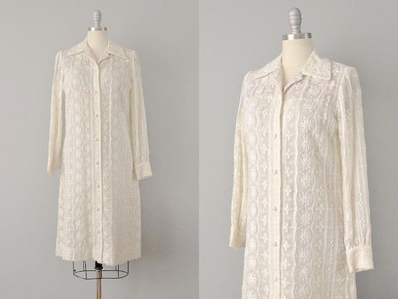 50% SALE:  Nat Kaplan Embroidered Ivory Cotton Shi
