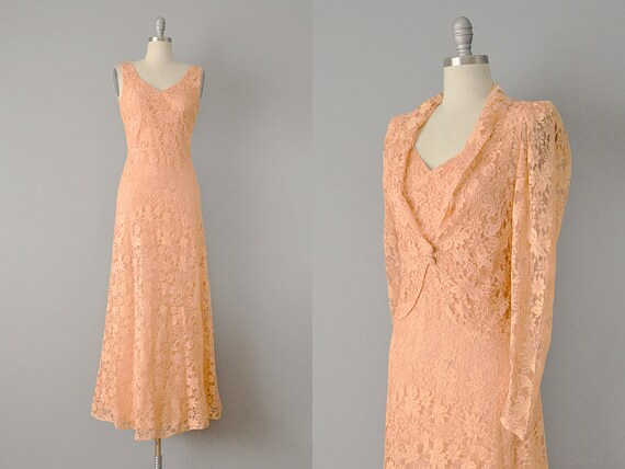 30s Dress // 1930s Peach Silk Lace Dress w/ Matchi