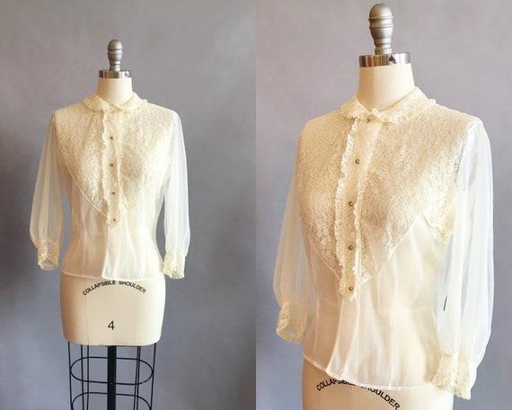 1950s Lace Blouse / Nylon Lace Blouse / Sheer Blou