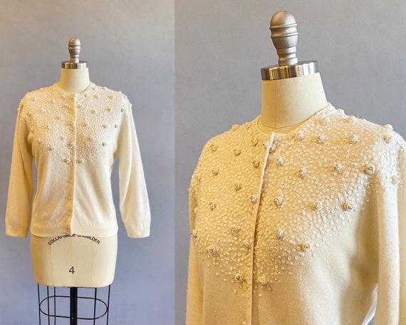 1950s Cream Sequined Cardigan / Beaded Sweater / W